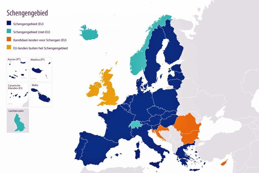 Kaart Schengengebied